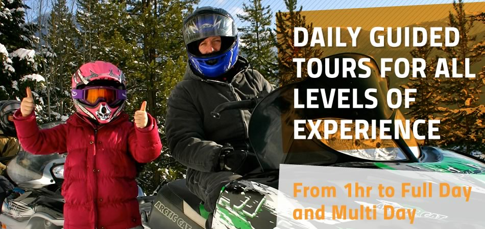 Snowmobile Tours for All Levels of Experience.  Banff, Canmore and Panorama Departures Daily