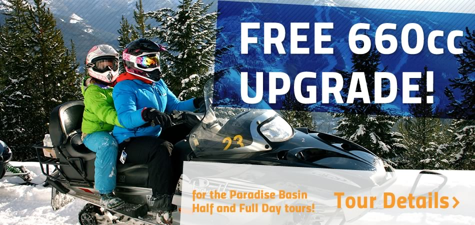 FREE Arctic Cat 660 Snowmobile Upgrade for all Paradise Tours (half day and full day tours)
