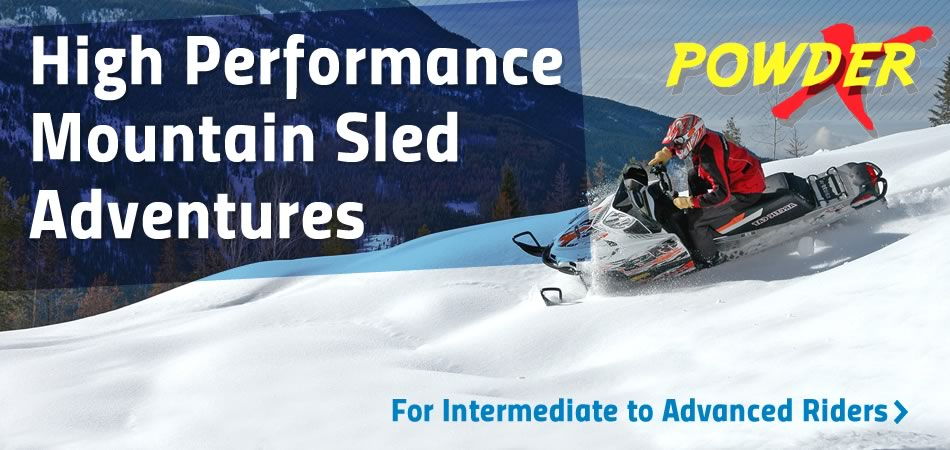 High Performance Snowmobile Tours for intermediate to advanced riders.  Banff, Canmore and Panorama Departures Daily