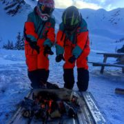 Cozying up to the open fire in Paradise Basin today.