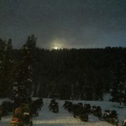 Moonset this morning over the Toby Creek Adventures base.