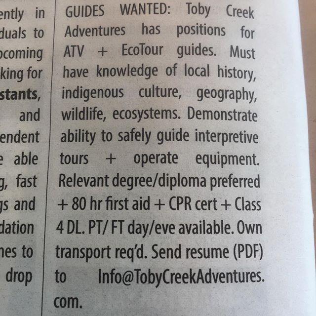 We are hiring! #BestSummerJobEver #ATVtour #tobycreekadventures #canadianrockies #columbiavalley #kootenaylife #kootenay #Invermere #PanoramaBC #PureCanada