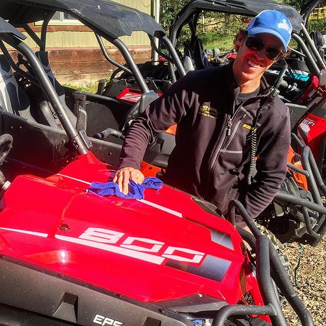 #TobyCreekAdventures guide Matt polishing the #CFMOTO side-by-side machines prior to the group's departure yesterday.