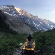 The setting sun highlights the Sultana Glacier above the Bruce …