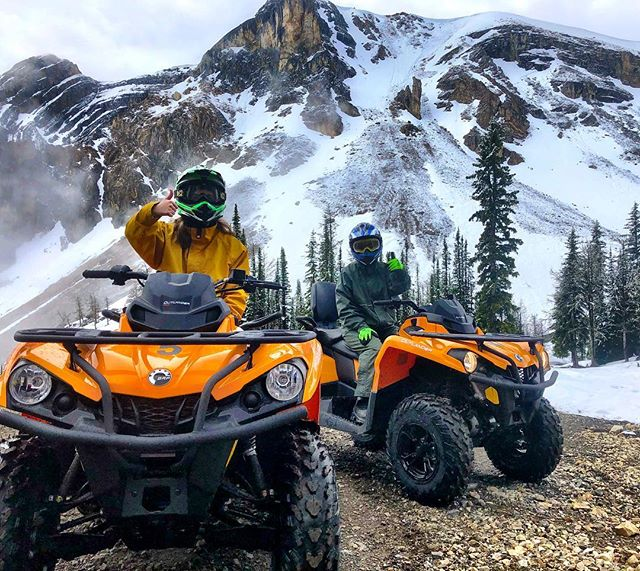 There was a fresh dusting of new snow at Paradise Basin today. It made for a magical scenic experience for these two guests from #Wisconsin on the morning half-day trip. . . Hey check out the shiny new 2018 #CanAm ATVs - this was the first trip out for these machines. . . @canam #tobycreekadventures #canadianrockies #panoramabc #atvtours