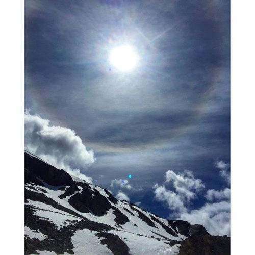 Spectacular Sundog over Paradise Basin. Sundogs are caused by sunlight …