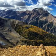 Mt. Slade, the Bruce Creek Valley and the golden Larches …