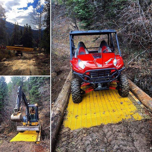 Fall is a perfect time to get caught up on work projects. Today we replaced an older wooden bridge with a new steel span. This creek crossing is now ready for snowmobile season. A big thank you to Mac-Neil Landscaping for making the project so smooth and easy.  We still have daily 1 and 2-Hr #ATV tours available. Come and experience the fall colours and see the fresh snow on the surrounding mountains.