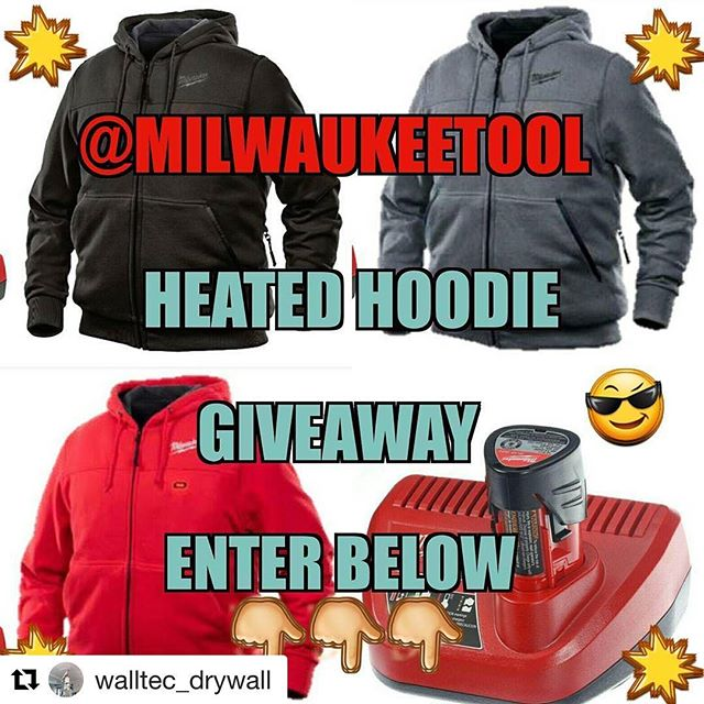 Oh Yeah!! a heated hoodie #walltecdrywallgiveaway from @walltec_drywall ???????????? ・・・ The moment yall have been waiting for has arrived ???? .  GIVEAWAY TIME!!! ???????????? TELL YOUR FRIENDS!!! ???????????? . To Celebrate Sweet 1600 we are giving away this Wicked Sweet @milwaukeetool Heated Hoodie, Comes with a Battery and Charger + with your Choice of Color and Size ???????? plus I will pay for shipping to your location its like Christmas all over again ???? . How to Enter.... 1. You need to be following me @walltec_drywall .  2. Tag 3 friends in the comments box.  Unlimited number of entries but you must tag 3 different friends for each entry .???? or 3. Sharing this photo with the  hashtag #walltecdrywallgiveaway and tag 3 friends in it  will get you 5 bonus entries this way... Contest starts Friday December 16th and runs until 12:00am midnight on January 1st 2017. North American Residents only. Must be at least 16 years of age to enter. This contest is not affiliated with Instagram or Milwaukee tools. I'm just giving away a wicked hoodie that's all.  GOOD LUCK TO EVERYONE AND MERRY CHRISTMAS  HAPPY HOLIDAYS AND HAVE A BEAUTIFUL NEW YEAR???????? #walltecdrywall #canada #usa #bc #yyc #yvr #yeg #contest #giveaway #beautiful #milwaukee #followme #follow # love #instagood #merrychristmas #photooftheday #happy #tagforlikes #like #selfie #fun #friends #winter
