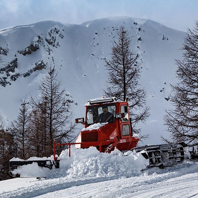 We groom our #snowmobile trails daily. When there's lots of #snow to move we bring out our classic LMC #snowcat to get the job done. ******************** #canada150 #purecanada #columbiavalley #canadianrockies #snowmobiletours #Banff #Canmore #panoramabc #Invermere