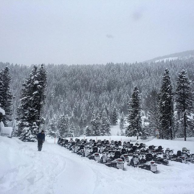 Ready to go! #Snowmobile Tour. #BCStorm
