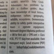 We are hiring! #BestSummerJobEver #ATVtour #tobycreekadventures #canadianrockies #columbiavalley #kootenaylife #kootenay …