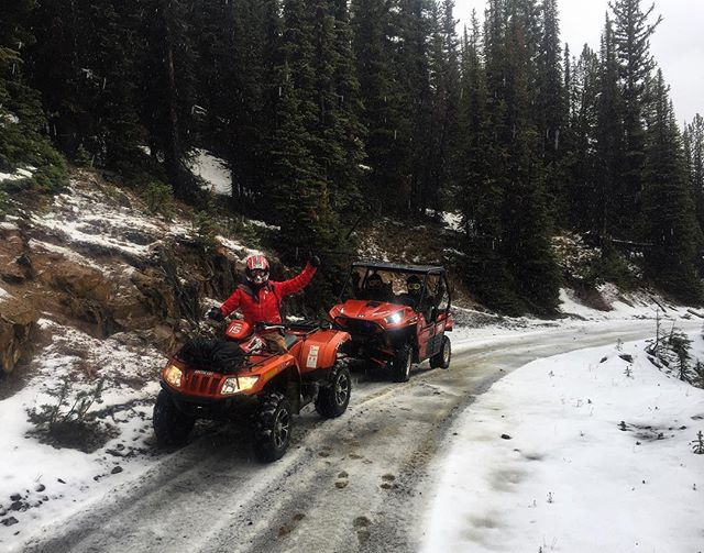 Today's #ATVtour guests found some fresh snow waiting along the trail to #ParadiseCabin. #tobycreekadventures #canadianrockies