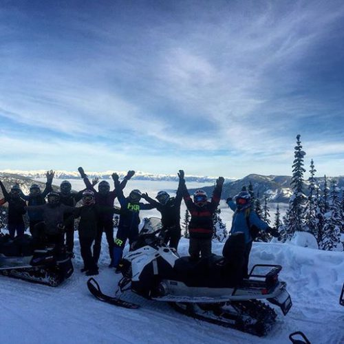 It was a fantastic day today at 8000'. A great day to host ten staff from #Banff hotels who came out to learn about our #snowmobile tours for their guests.#tobycreekadventures #banff #canmore #canadianrockies #famtour