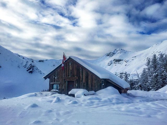 The #ParadiseCabin at 8000' - our destination for all full-day and half-day #snowmobiletours. ???????????????? #banff #canmore #tobycreekadventures #panoramabc #purecanada #canada150 #canadianrockies #canadianchristmas