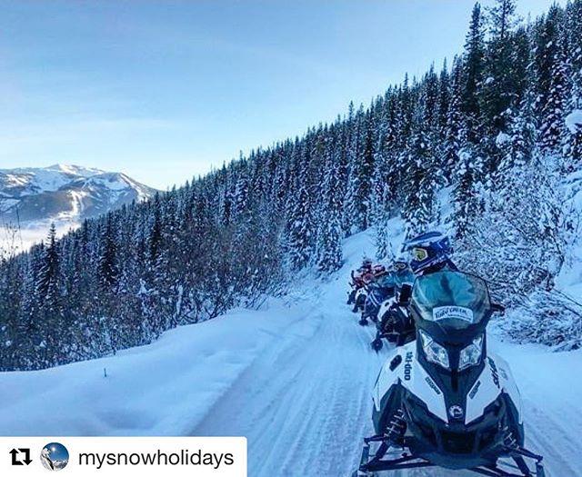#Repost @mysnowholidays ・・・ @tobycreekadv got us feeling like SAMCRO on the snow...????❄️Thanks for a wild ride through the Panorama pow!????: @_kkbowlsey #snowmobiling #tobycreekadv #mysnowholidays