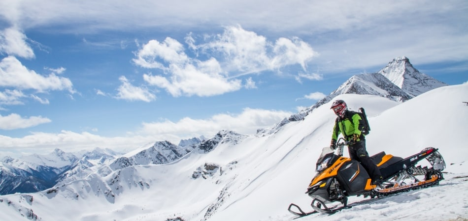 full day powder snowmobile tour in rocky mountains daily from banff