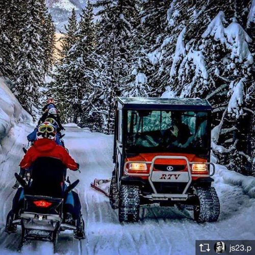 Repost from @js23.p Passing the trail groomer on our way …