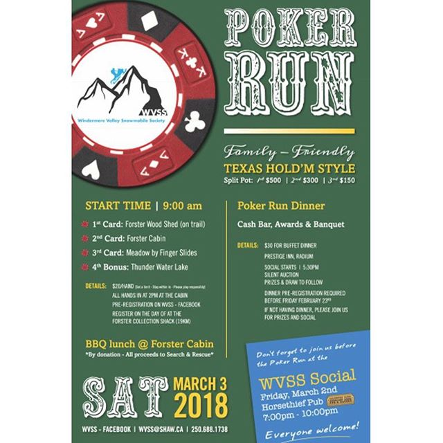 #POKERRUN #FUNDRAISER - Please support your local #snowmobile society. *********************** #TobyCreekAdventures is proud to be an active member in the WVSS - #Windermere Valley Snowmobile Society. *********************** On Saturday March 3, 2018 the #WVSS is holding a fundraising Poker Run at the Forster Sled Shed. You can help support all the benefits of local snowmobiling and the #volunteers who give so much time and effort by attending this fun family event and/or donating prizes or silent auction items. *********************** Donations can be accepted at the Bowling Alley mon-fri 8-3. Please contact Melody Chemelli @ 250-688-1738 or wvss@shaw.ca to arrange delivery or pick up. WVSS asks that all donations be received by February 28th. *********************** DID YOU KNOW..................?? Public #snowmobiletrails are funded solely by snowmobile users through: Snowmobile registrations, Snowmobile trail or user permits, and an immense number of hours snowmobilers volunteer each year to clear, maintain, sign and groom trails. *********************** Additionally, many snowmobile trails are also used by hikers, bicyclists, equestrian riders, OHV riders, and a host of other recreationists during the #summer season. *********************** These contributions from snowmobilers include many thousands of hours of volunteer time which help provide winter recreation opportunities for all users. *********************** Snowmobiling generates over  billion in annual spending across #Canada, and much of this spending occurs in rural areas *********************** Snowmobiling is a favorite #winter pastime for over one and a half million people in Canada. *********************** Snowmobiling also helps provide a large number of recreation opportunities for other trail users since many of the 112,300 kilometers of snowmobile trails in Canada are open for multiple uses and help provide important winter access, services, and #trailheads. ************************* #PanoramaBC #Invermere #radiumhotsprings