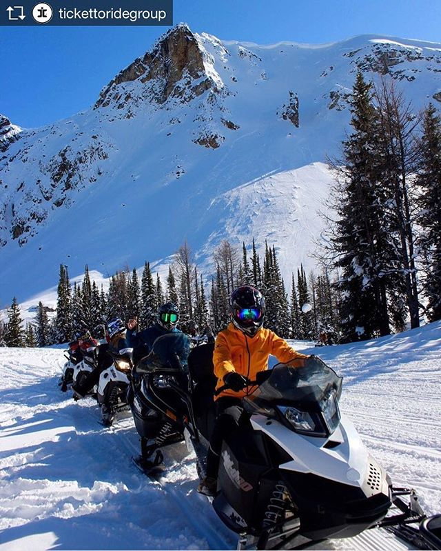Repost from @tickettoridegroup  This is the Canadian version of a biker gang????. Thanks to the crew @tobycreekadv for taking us out into the mountains on an amazing snowmobile day. #ttrbanff #lifesgood
