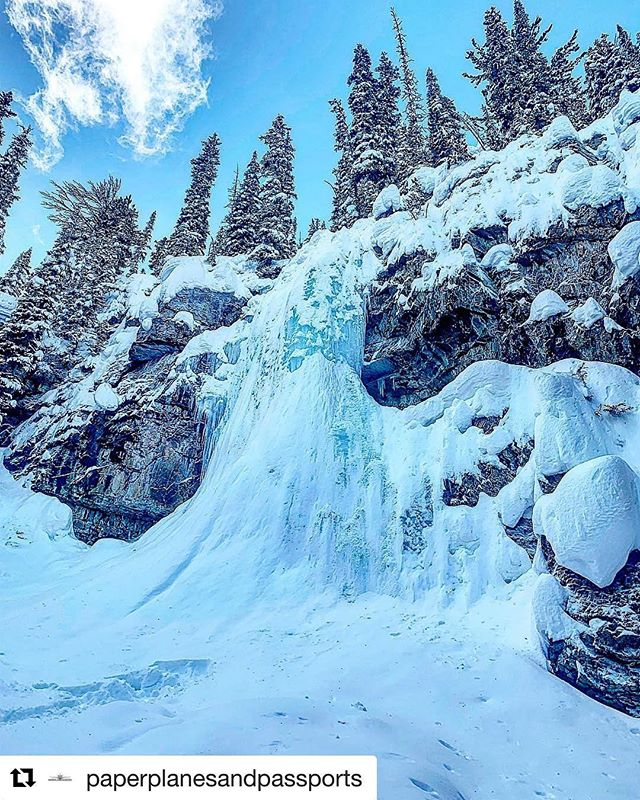#Repost from @paperplanesandpassports ・・・ We snowmobiled up the mountain to hike a short ways to Smith Falls near Paradise Basin British Columbia. If you get up close you can still hear the water flowing behind the ice. Looks like a scene out of the Disney Movie Frozen ❄️ #paperplanesandpassports #waterfalls #frozen #magical #potd #adventuters #soicy #snowmobiling #travelblogger #travelgram #blogger #traveltuesday #pretty #myview #disneyfrozen #frozendisney #waterfall #waterfalls #instatravel #blacktravelgram #snowday #snowgram #tobycreekadventures