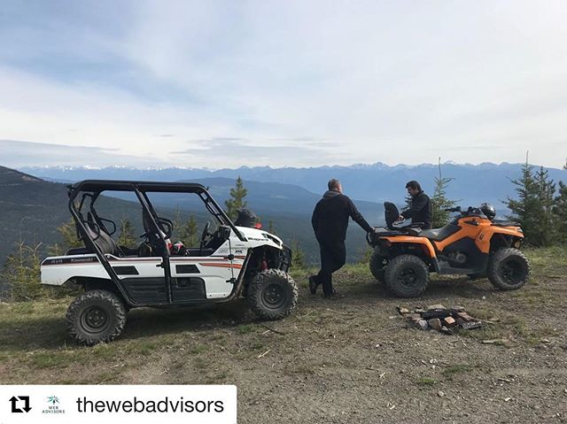 "#Repost from @thewebadvisors ・・・ As they say ""The more you know..."" whis is why #thewebadvisors Victoria team is in beautiful @invermerepanorama today to expand their regional product knowledge with an ATV tour @tobycreekadv - it's a tough job, but someone has to do it! #InvermerePanorama #KootRocks #BeautifulBC #ExploreBC #destinationmarketing"