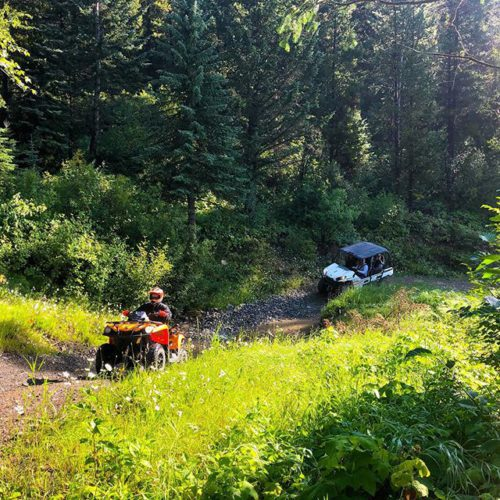 Negotiating one of the creek crossings on the trail to …